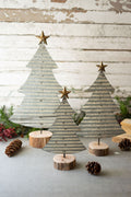 Corrugated Galvanized Christmas Trees on Wood Bases Set of 3 - Seasonal