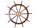 Deluxe Class Wood and Brass Decorative Ship Wheel | Nautical Decor | Wall Art