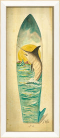 Marlin Surfboard Framed Print - Island Decor - Wall Art