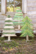 Recycled Wood Christmas Trees with Stands Set of 3 - Seasonal