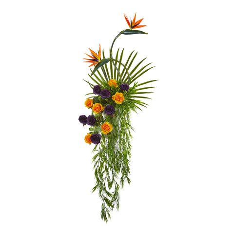 Rose, Bird Of Paradise And Fan Palm Artificial Arrangement In Urn - Island Decor