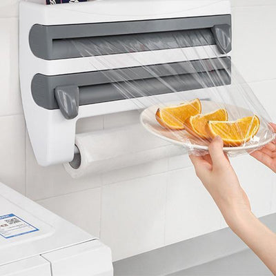 Multi-function Film Storage Rack Cutter for Kitchen