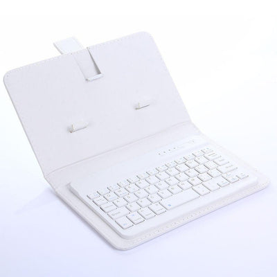 Portable Wireless Keyboard With PU Leather Case (Upgraded Bluetooth Version)