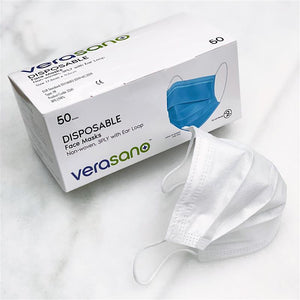 Type IIR Medical Grade Disposable Face Masks with Ear Loop, Non-woven, 3Ply – White (as low as $0.28 per mask)