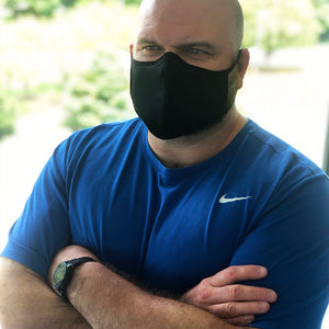 Smart Fiber Fabric Mask – Big and Tall – Black (as low as $4.10 per mask)