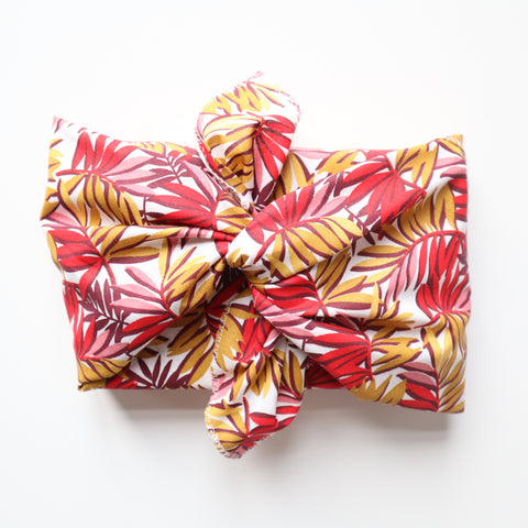 Emballage cadeau Furoshiki - Feuilles rouges - taille M