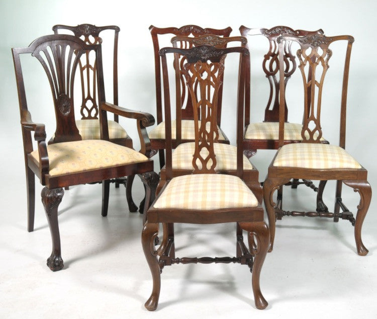 TR-122 7 x Dining Chairs Mahogany Chippendale Style 1920s