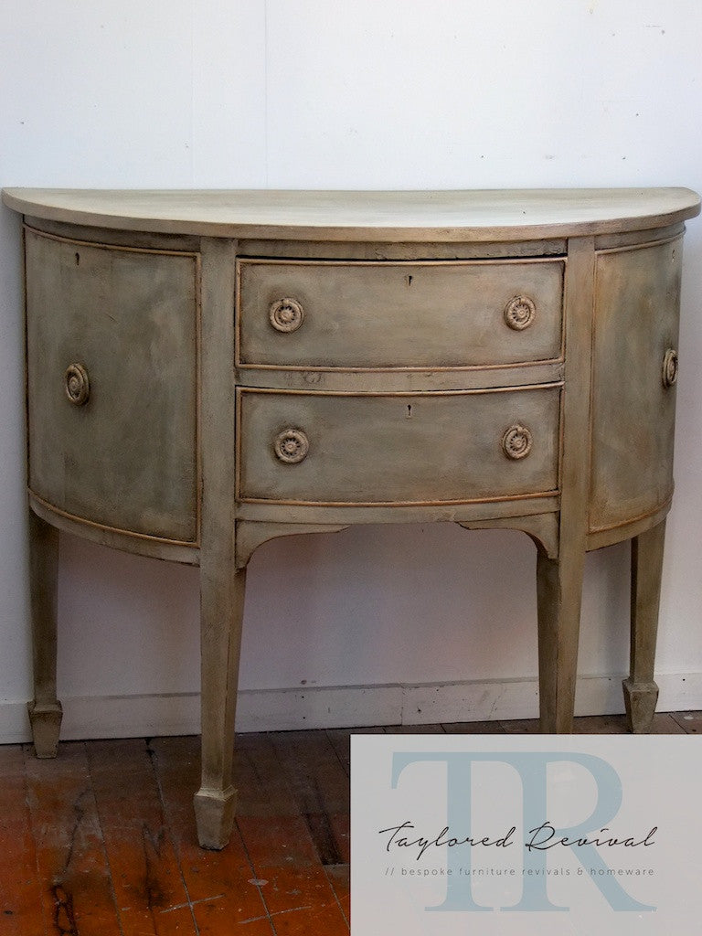 Allesandra: Half round antique sideboard in Chateau Grey