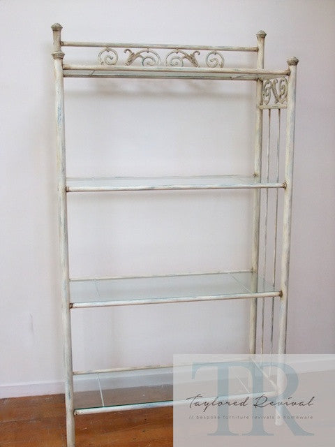 Amaris- Rustic ornate metal shelving unit