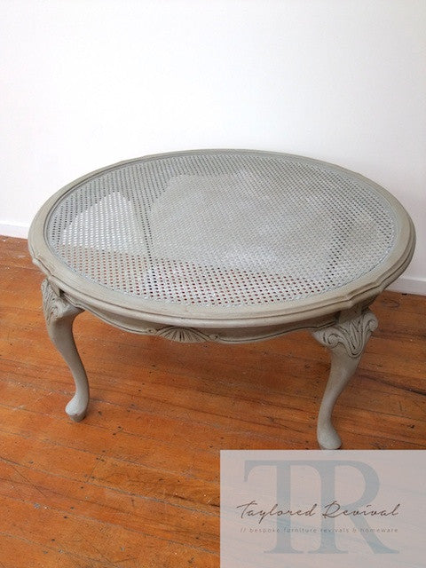 Ainsley - Round rattan coffee table with ornate detailing