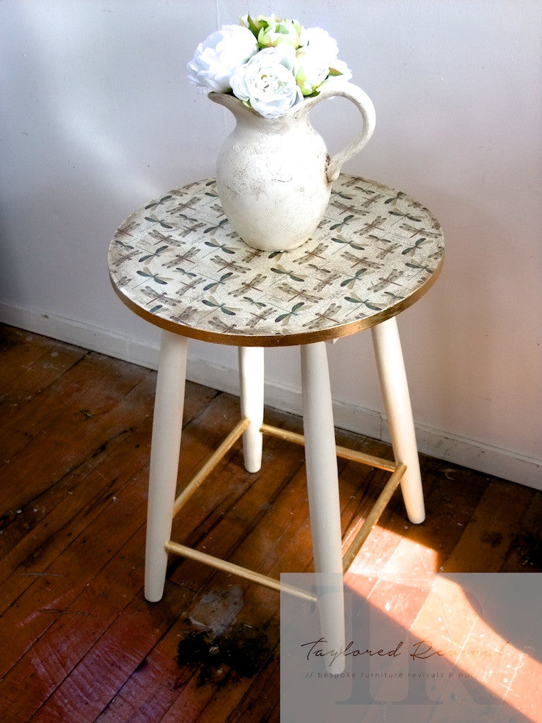 Amy: Pretty side table gold gilded and Decoupaged