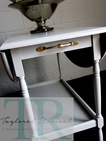 Oak Tea Trolley in Custom mixed Paris Grey with Graphite underside.