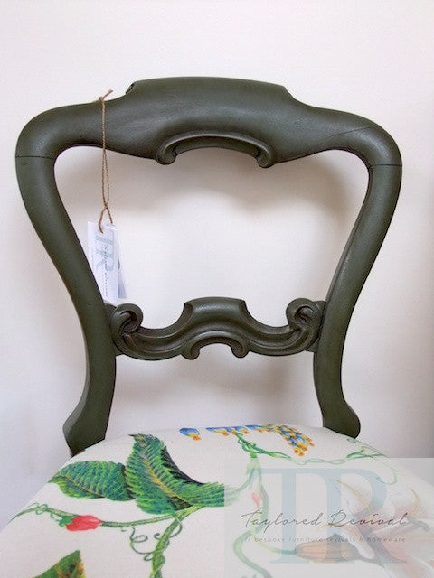 Avery- hand painted antique victorian balloon back chair in olive