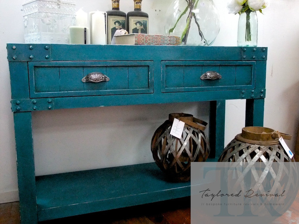 Commissioned Feature Hall table in custom blended Teal