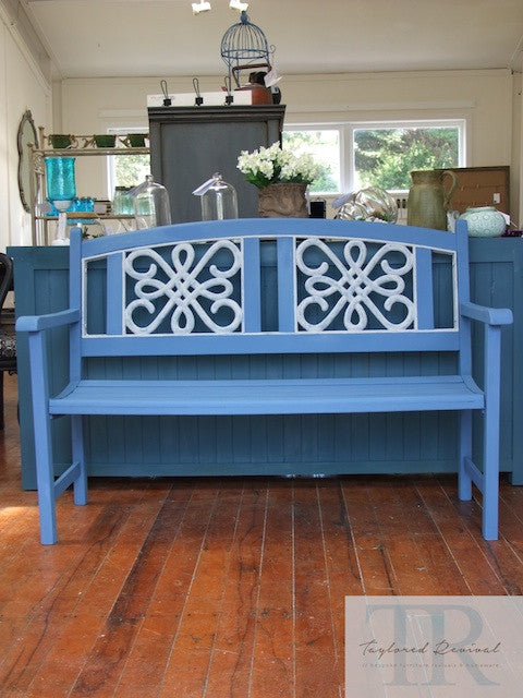 Becky- Hand painted blue  wooden garden bench with white detailing
