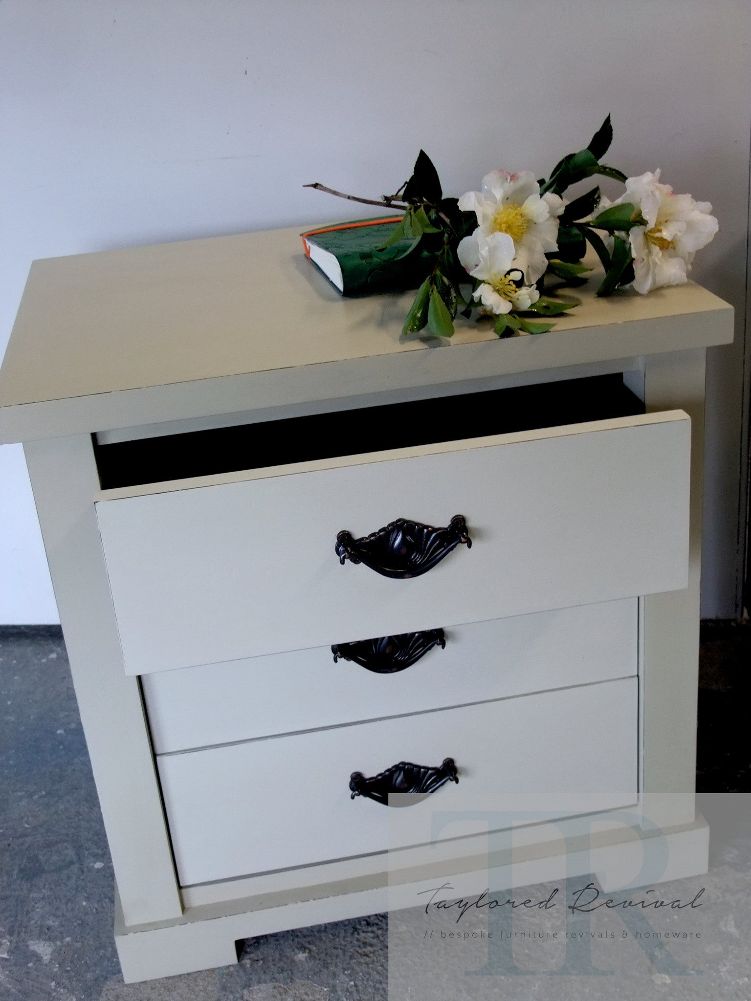 Commissioned bedside and low cabinet in country grey