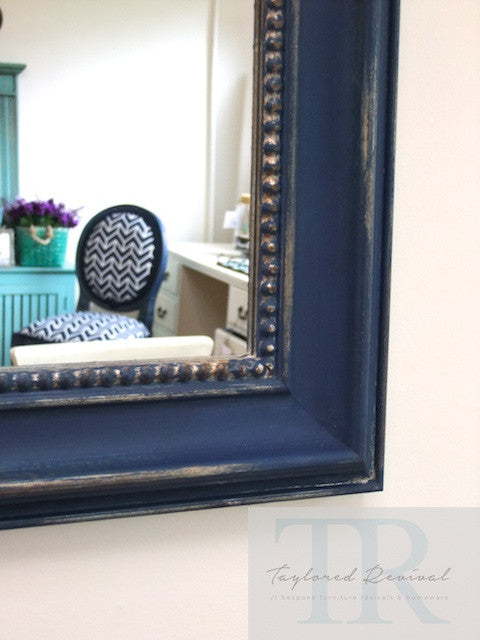 Bianca- Large hand painted royal blue and gold rustic mirror