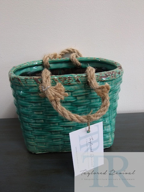 Ceramic blue green flax basket