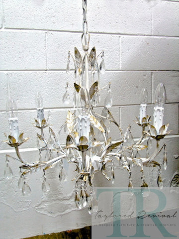 Commissioned Chandelier in Pure White & Gold