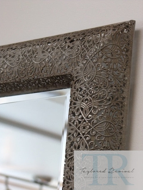Charlotte- filigree mirror, hand painted and antiqued