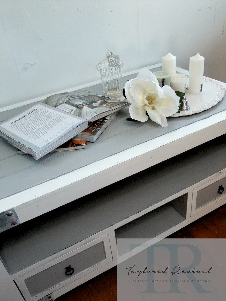 Commissioned Coastal inspired Coffee table in Paris Grey and Pure White