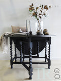 Delia: Carved oak gate leg drop leaf table