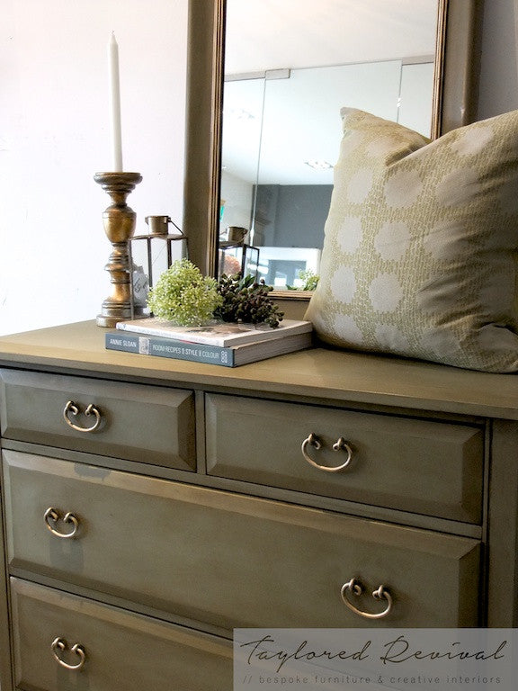 Commissioned set of drawers and mirror in Chateau Grey