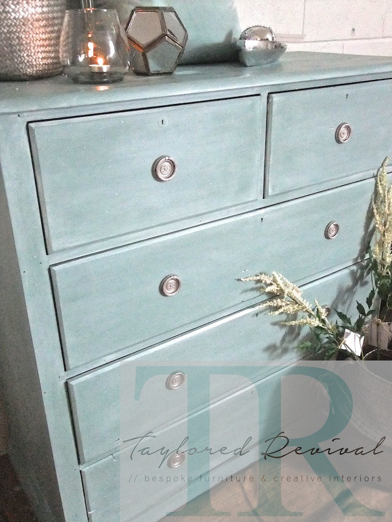 Commission Drawers: Duck Egg blue drawers with white wash