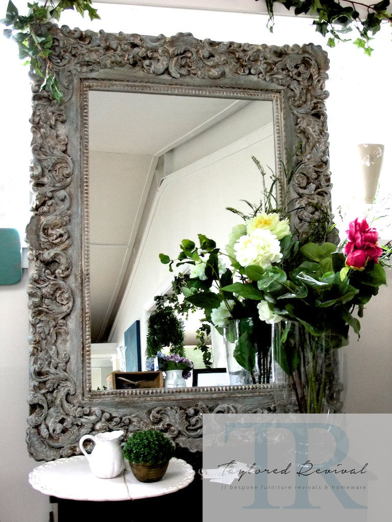 Gwyneth-Rustic large filigree mirror in Louis blue and Duck Egg and Coco.