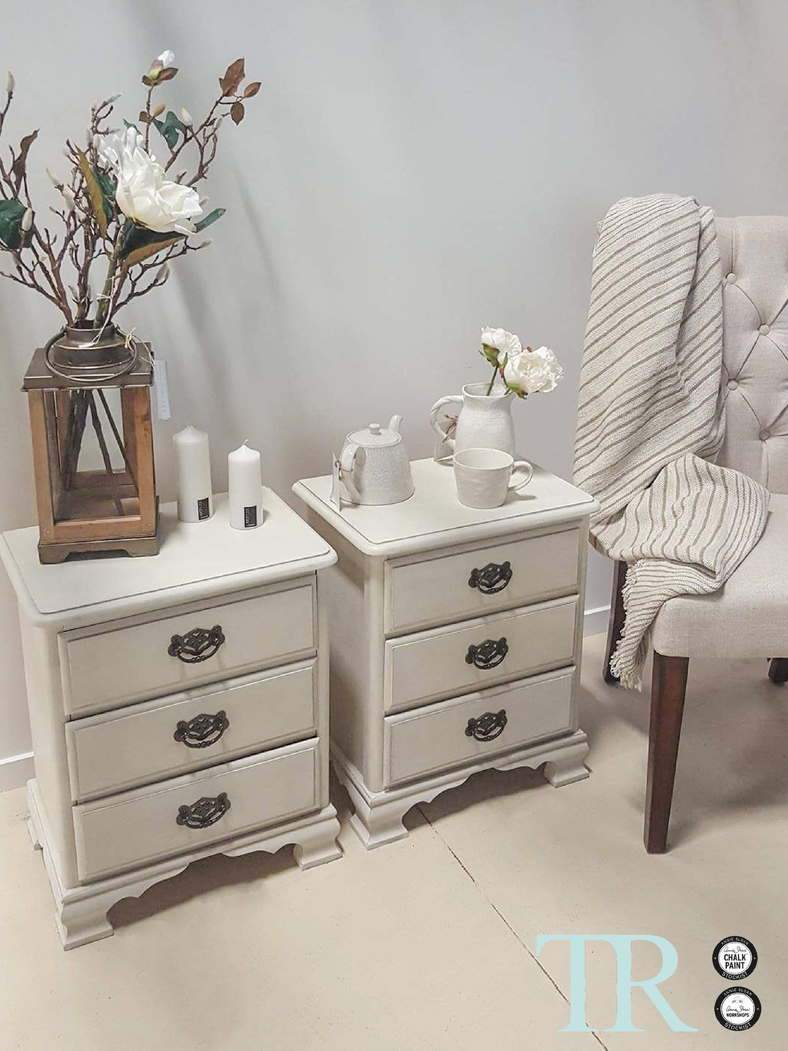 Commissioned Bedroom furniture in custom mixed Old White