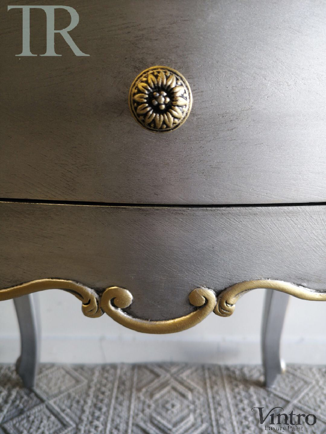 Commission Bedside Tables in Vintro Metallic Silver and Gold