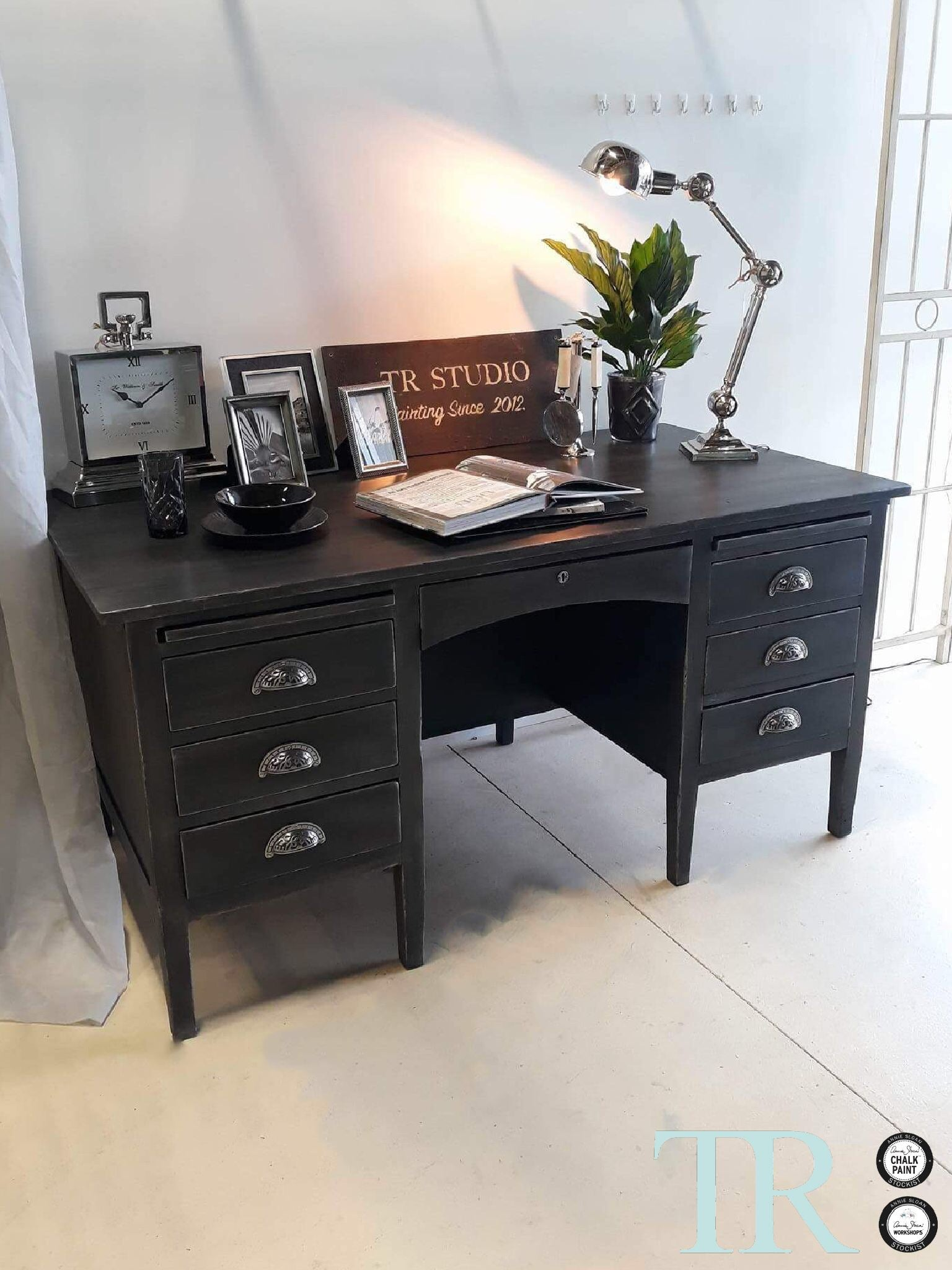 Commissioned Desk in Graphite and French Linen