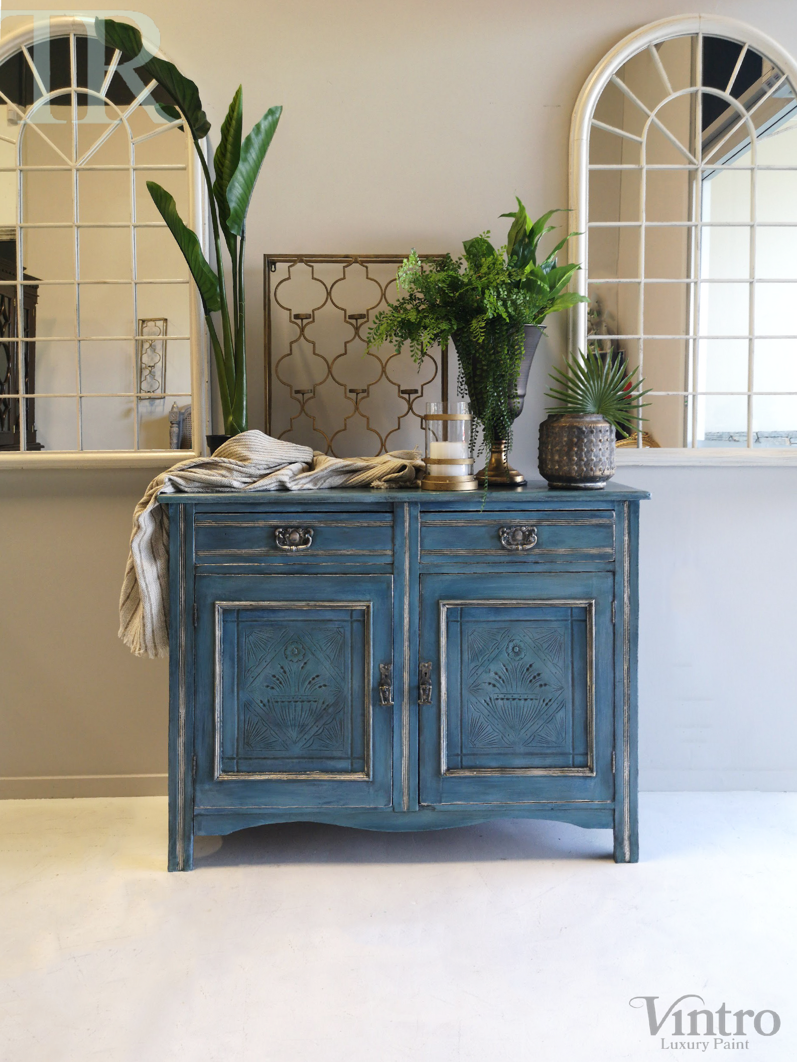 Delta: Hand painted & glazed Blue Lacquered sideboard