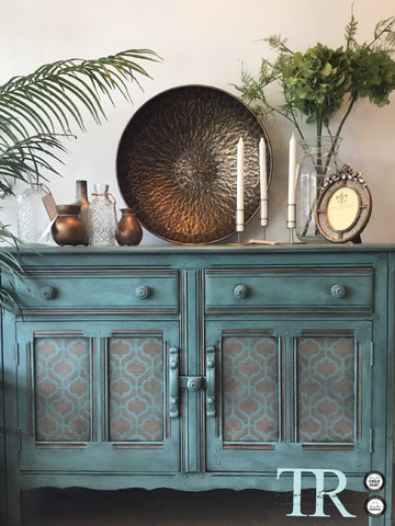 Ira: Oak hand painted & stencilled sideboard