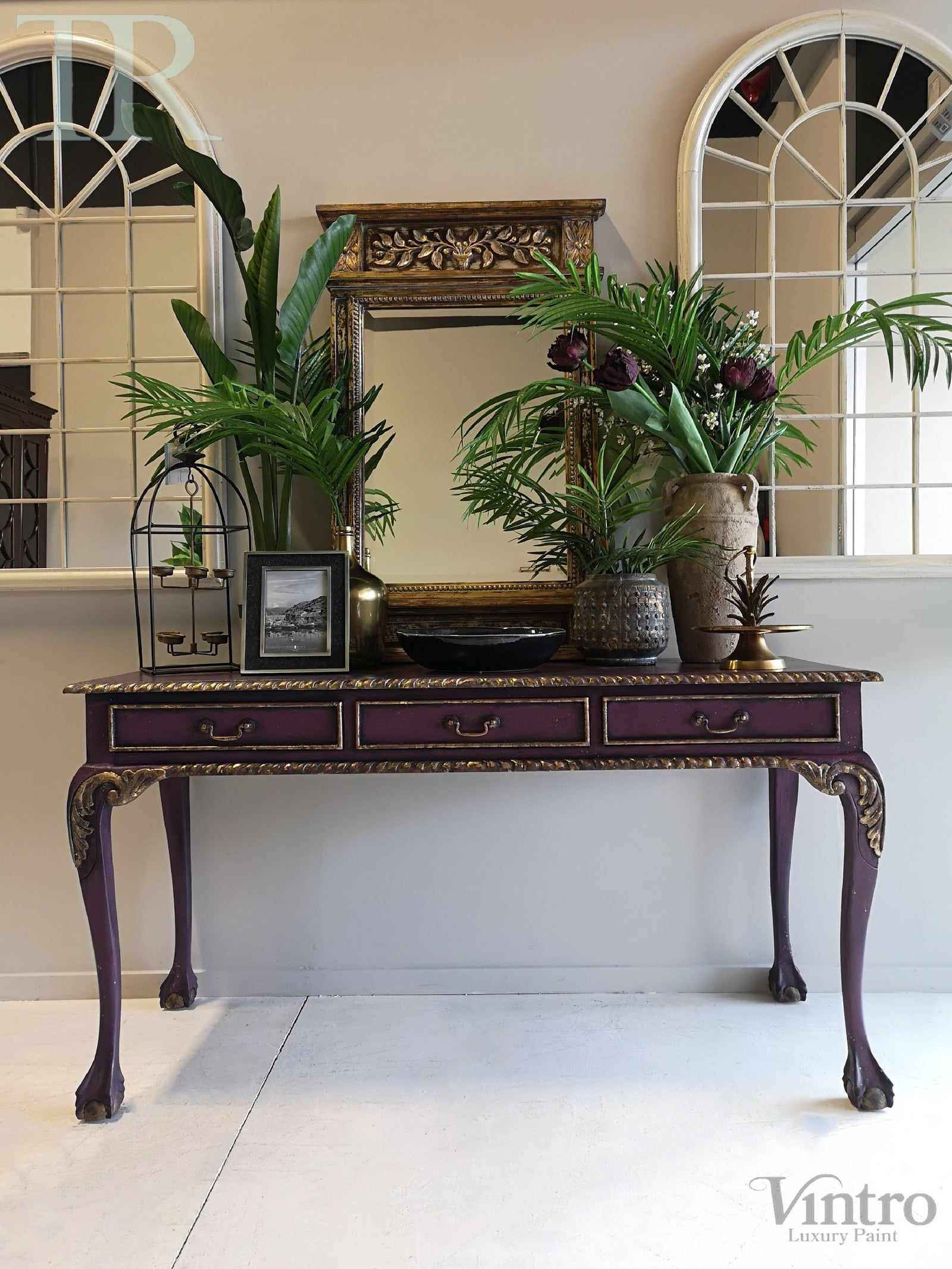 Amira Hall Sofa Table Or Desk In Rich Old Mauve With Distressed Gold