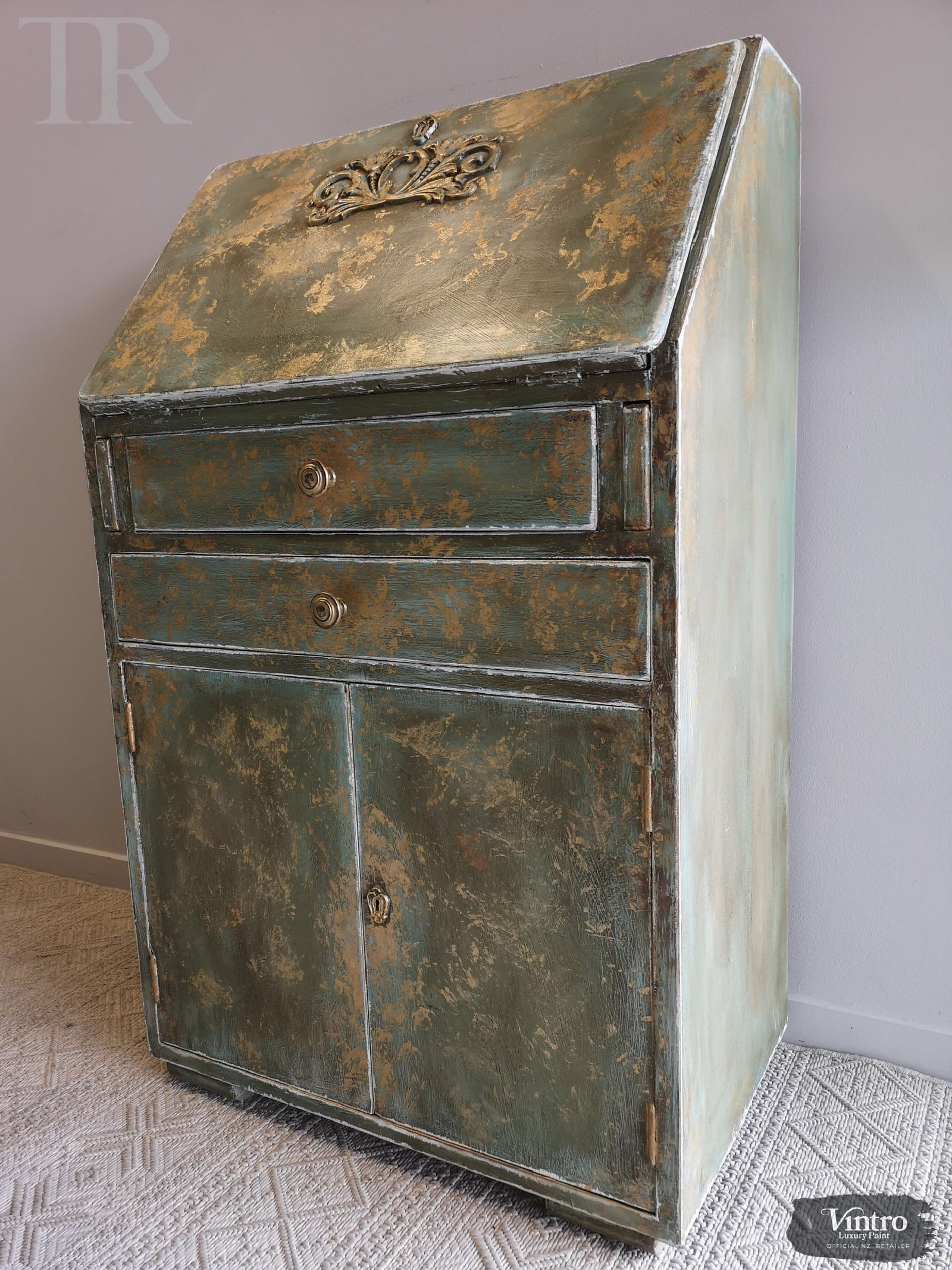 Briar:  Hand painted and aged drop front desk in Solid Oak