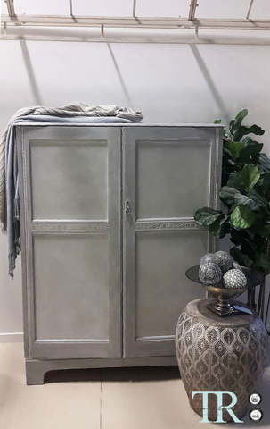 Alma: Hand painted wardrobe in French Linen.
