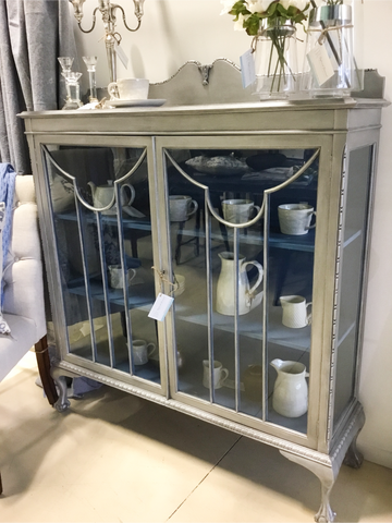 Celine: Ball and Claw feet Silver and Blue display cabinet