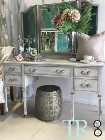 Elora : Hand painted Mahogany Dressing Table