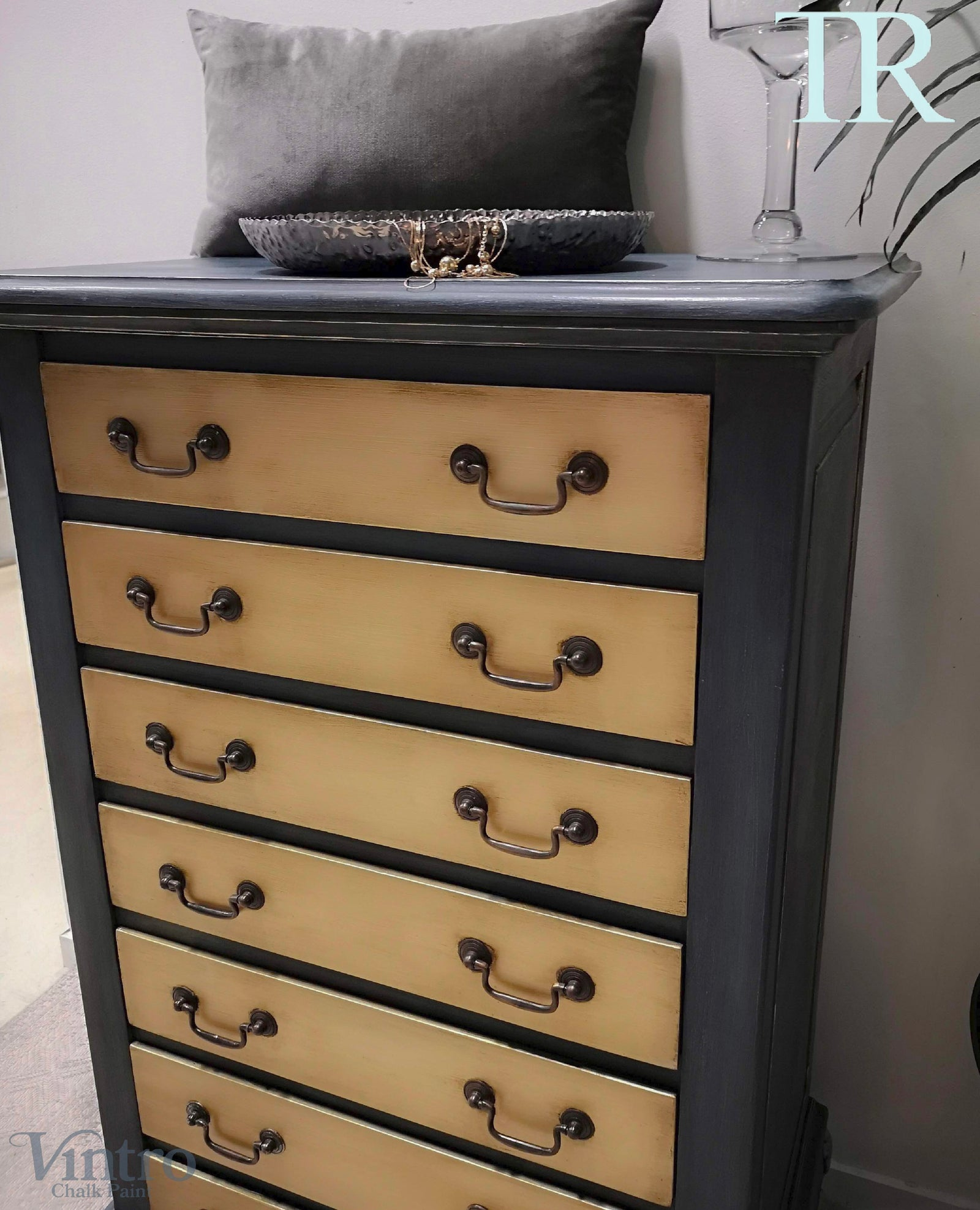 Adrienne: Blue and Brushed Gold hand painted small set of drawers