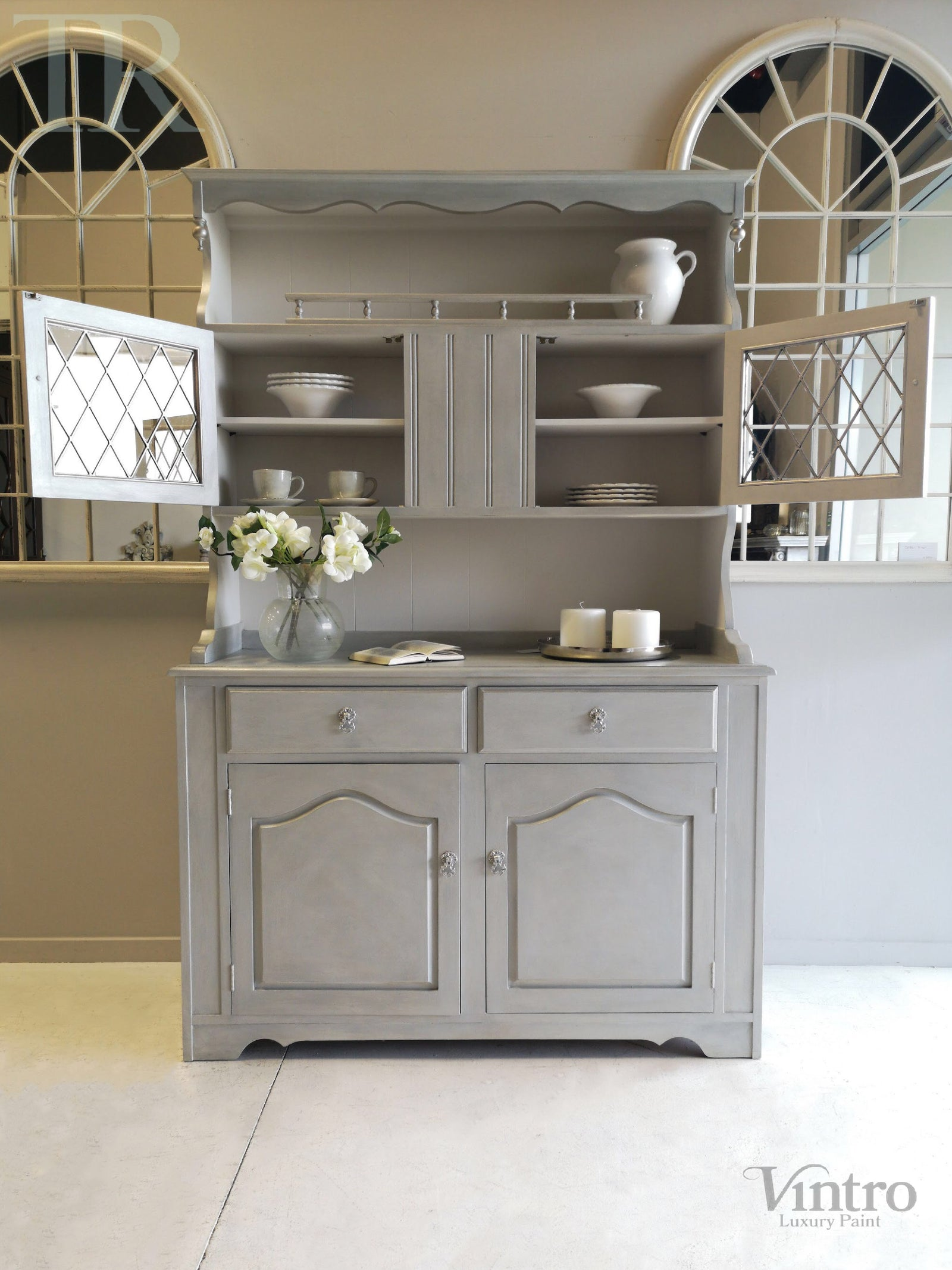 Commissioned Hutch Dresser in Vintro Chalk Paint with a silver lustre