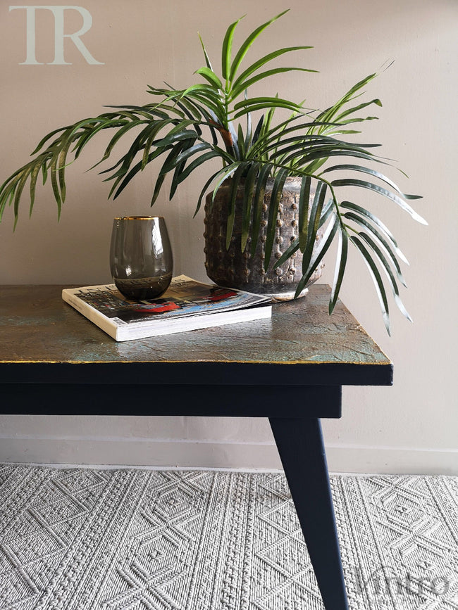 Eva: Bespoke hand painted mid century modern table with decorative top