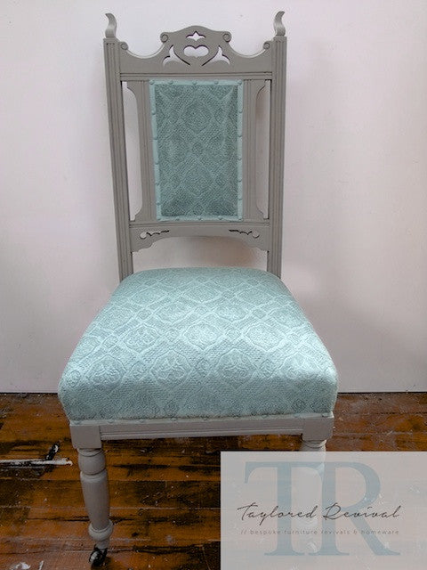 Alice: Oak carved chair in french linen and duck egg blue