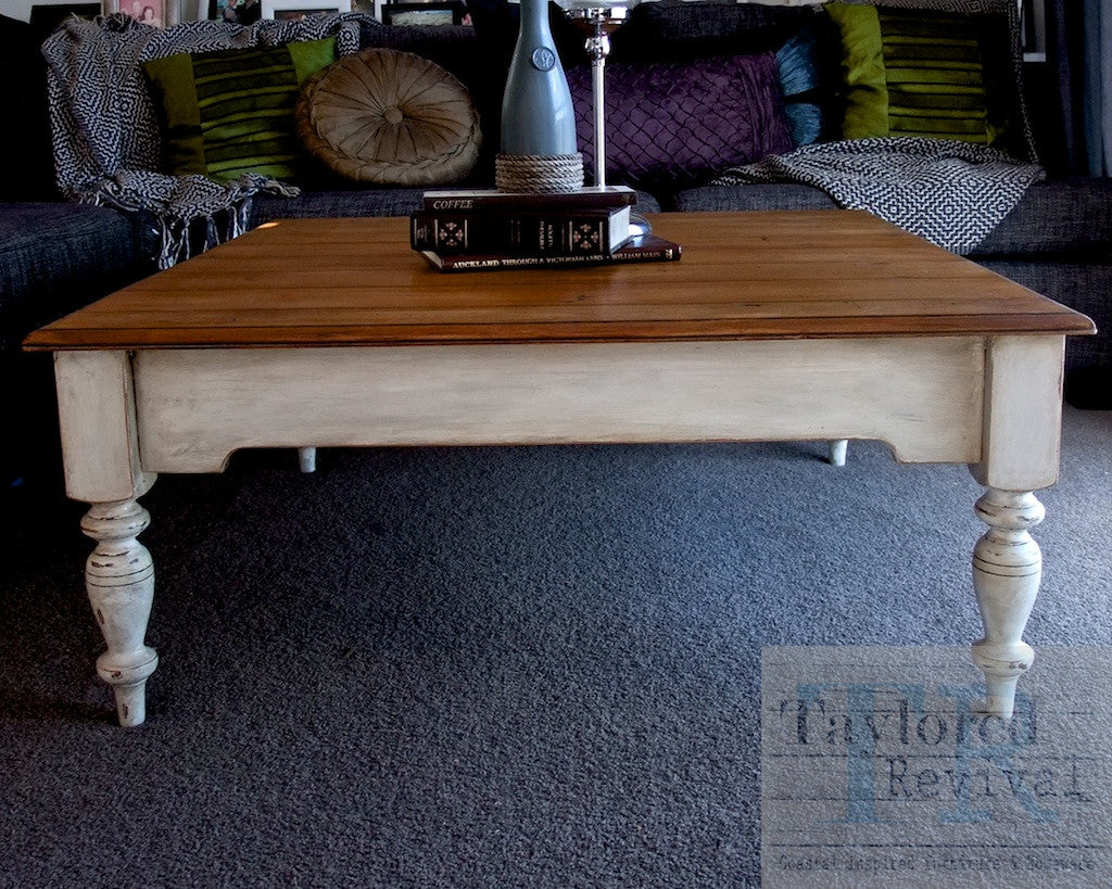 Kendall- Rustic style square coffee table