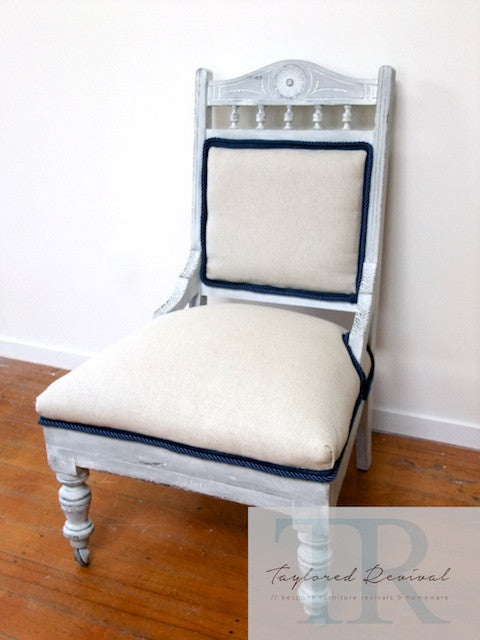 Kimberley- Custom blended, white washed slipper chair in nautical theme