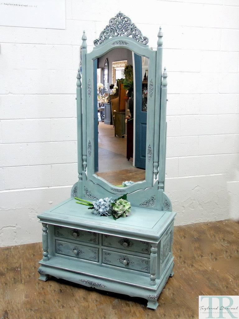 Commissioned  free standing Mirror in a duck egg blue