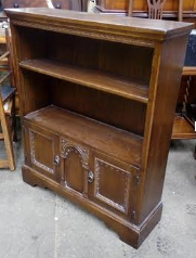 TR-50 Open Bookshelf with Cupboard Oak 1930-50s