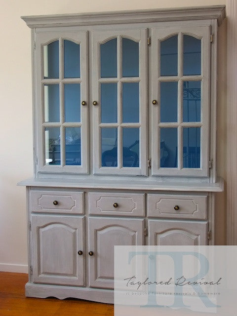 Shirley- Beautiful grey display cabinet with blue inners