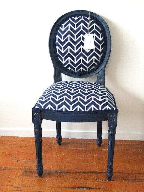 Stevie - custom blue antique style round back chair