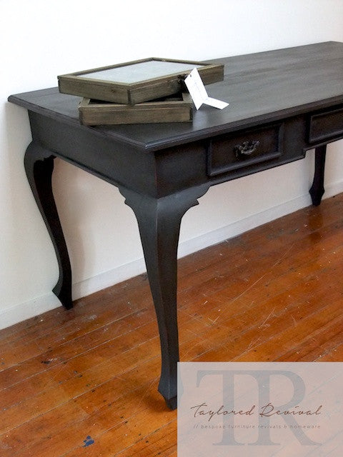 - Veda - Deep Charcoal Queen Anne Desk With Red Antique Style Drawers